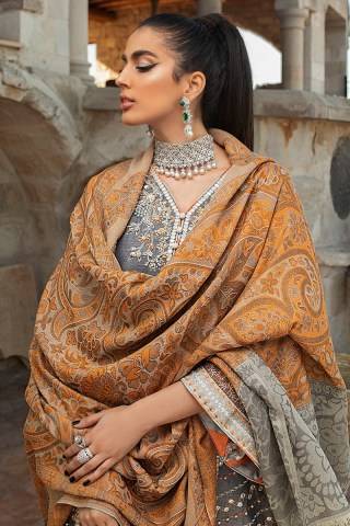 Mushq Winter Sky Embroidered Raw Silk Unstitched 3 Piece Suit 2020 03 Muskmelon- Winter Collection
