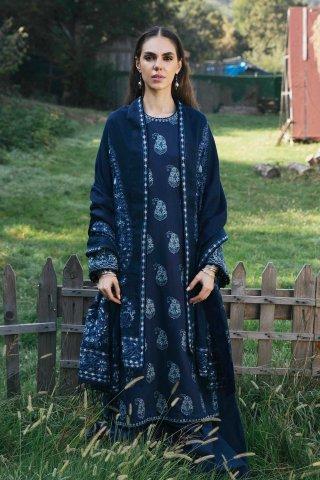Zara Shahjahan Embroidered Cotton SatinUnstitched 3 Piece Suit 2020 03 Tazkia- Winter Collection