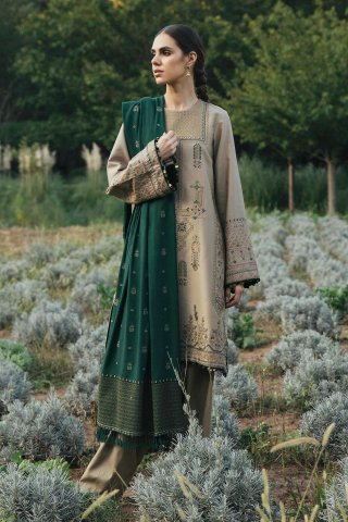 Zara Shahjahan Embroidered Cotton Satin Unstitched 3 Piece Suit 2020 07 Zohra - Winter Collection