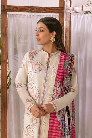 Zaha by Khadijah Shah Embroidered Lawn Unstitched 3 Piece Suit 01-A – Summer Collection