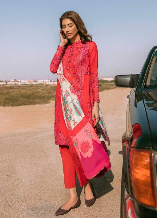 Zaha by Khadijah Shah Embroidered Lawn Unstitched 3 Piece Suit 03-B – Summer Collection