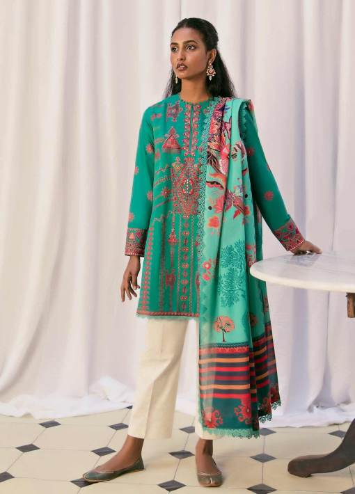 Zaha by Khadijah Shah Embroidered Lawn Unstitched 3 Piece Suit 10-B – Summer Collection