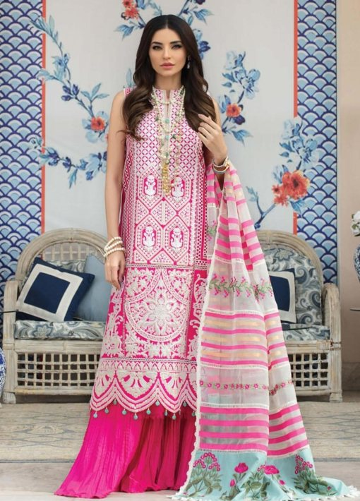 Crimson by Saira Shakira Embroidered Lawn Unstitched 3 Piece Suit D3A FUCHSIA – Luxury Collection