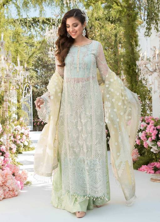 Maria B Mbroidered Organza Unstitched 3 Piece Suit 2021 BD 2102 Sky blue, Mint green and Lemon – Eid Collection
