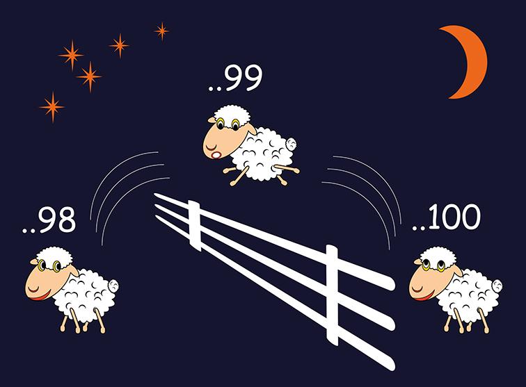 Schäfchen am Nachthimmel. Schlafprobleme im Sommer