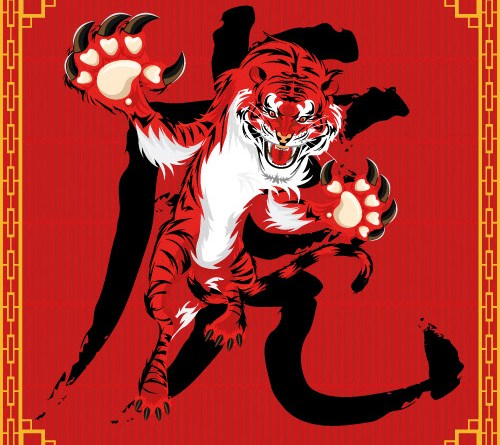Illustration eines Tigers. Roter Tiger auf rotem Hintergrund. Springender Tiger. Chinesisches Zeichen. Chinesisches Horoskop Tiger