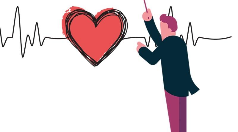 Illustration eines Dirigenten. Herz-Kreislauf-System. Sinuslinie Herz