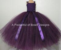 Long Eggplant Tulle Dress, Plum Flower Girl Tutu Dress
