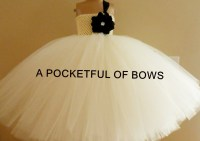 Ivory Flower Girl Dress Ball Gown with Black Flower and ...