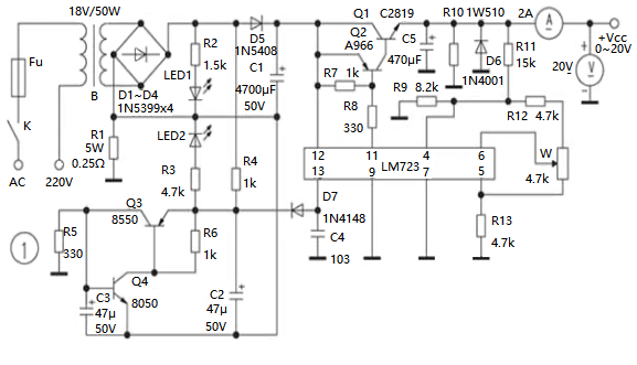 Circuit Design Schematic of Adjustable Voltage Regulated
