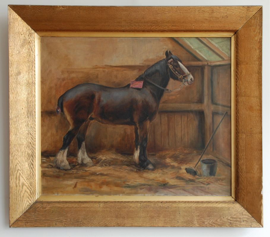 19th Century Painting Horse In A Stable By May Burton