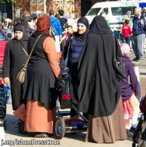Muslim women wearing various style of veils