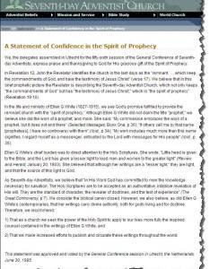 Sda church   statement of confidence in the spirit prophecy which it identifies as ellen  white also seventh day adventist apologetics index rh apologeticsindex
