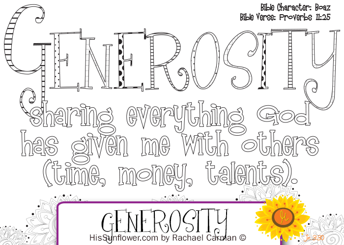 Character Quality: Generosity from www.HisSunflower.com by Rachael Carman