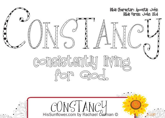 Character Quality: Constancy  with free coloring page download.