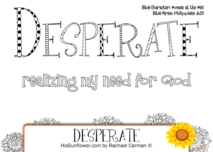 Character Quality: Desperate with {free} coloring page!