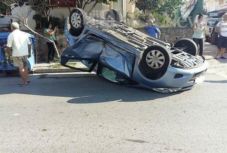 Χανιά: Τροχαίο με ανατροπή και τραυματισμό δυο παιδιών  (φωτο)
