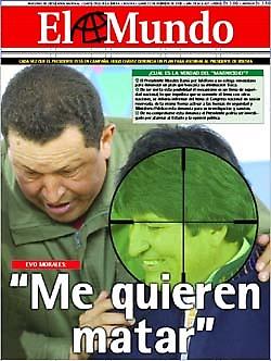 Imagen del Presidente Morales utilizada como diana, diario elmundo