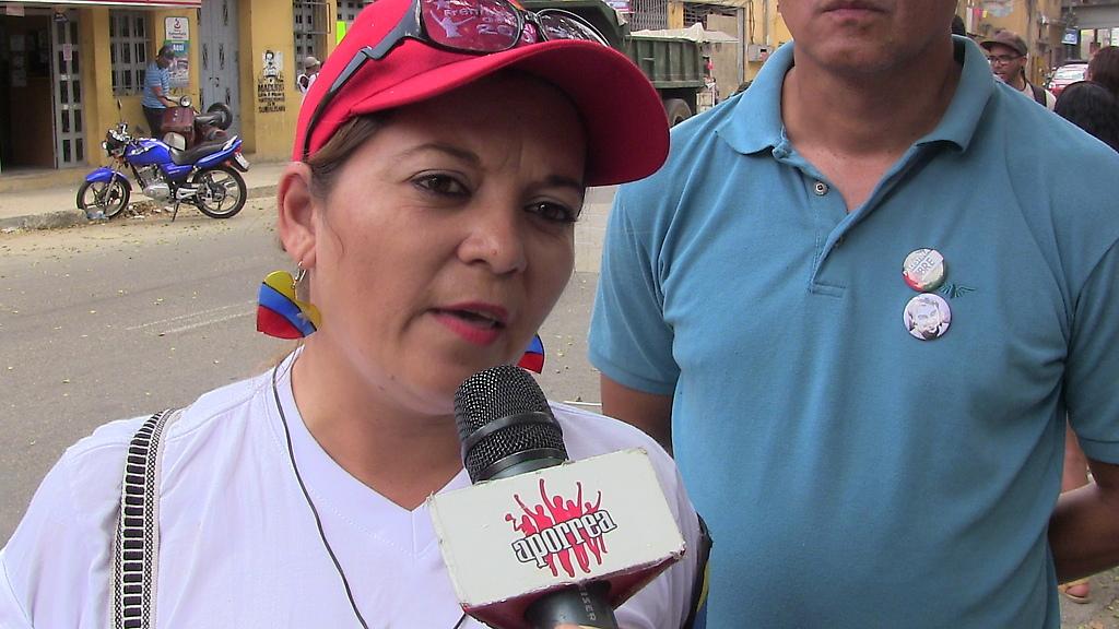 Limar Cerrada del Frente Bicentenario de Mujeres en la rueda de prensa en San Agustín del Sur