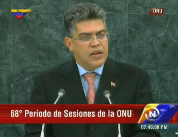 """El canciller venezolano, Elías Jaua, denunció que países que dicen ser """"excepcionales"""" mantienen secuestrada la Organización de Naciones Unidas y por consiguiente la paz del mundo. De igual forma expresó la necesidad de reformar el organismo, con la finalidad de convertirlo en una instancia equitativa."""