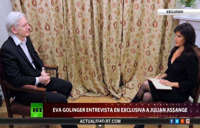 Assange cuando fue entrevistado por Golinger en octubre del año pasado.