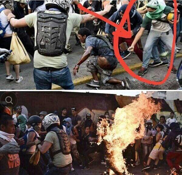 Imágenes de los momentos de la tortura que vivió este joven venezolano a manos de guarimberos