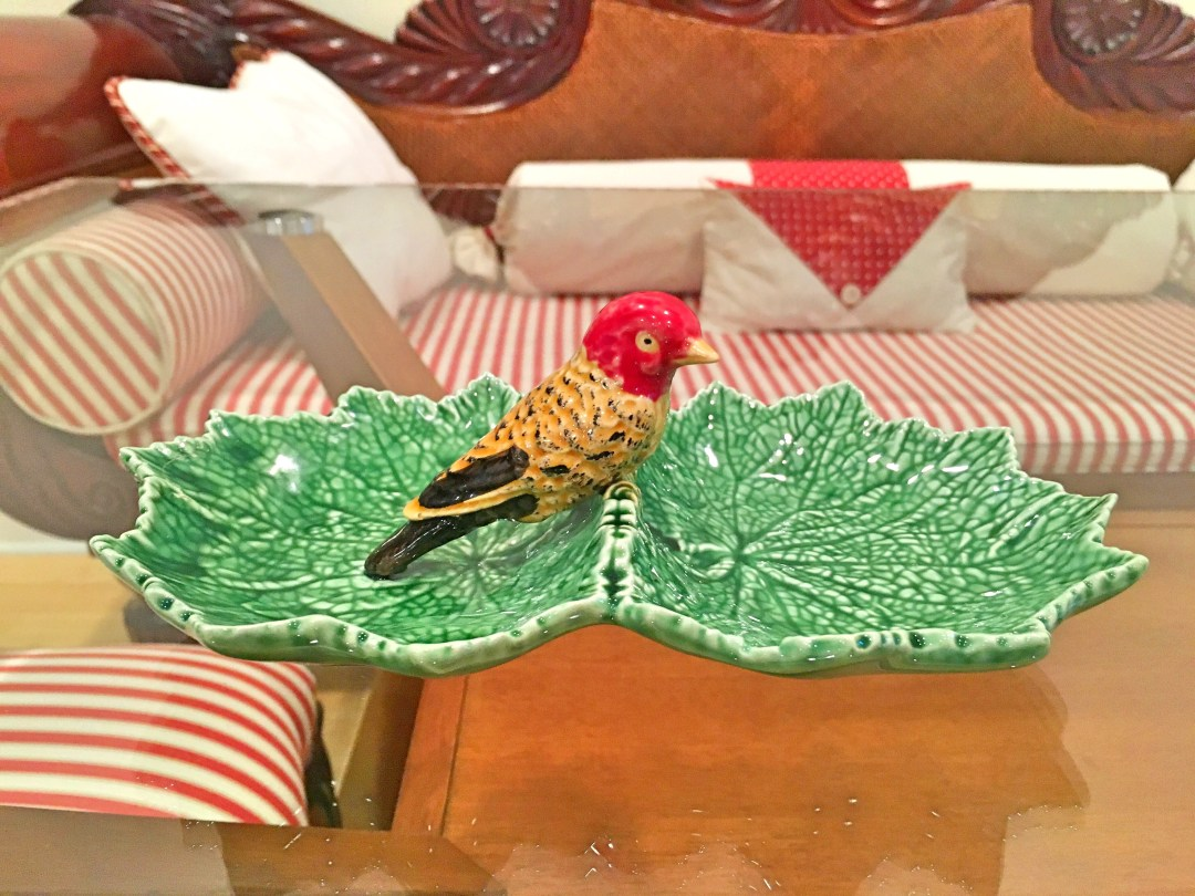 Bordallo Pinheiro red bird two leaves