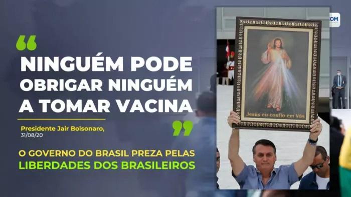 Bolsonaro defende movimento antivacina, via twiter oficial da Secretaria de Comunicação.