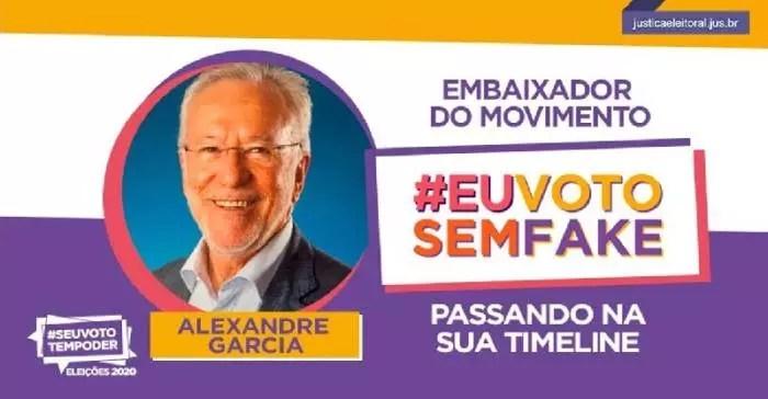 Bolsonarista, Alexandre Garcia, é escrachado por fazer campanha contra fake news no TSE.