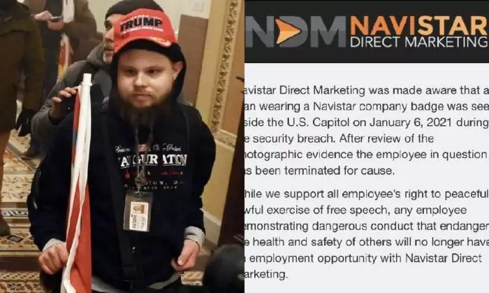 Invasor do congresso americano que usava crachá da empresa, é demitido.