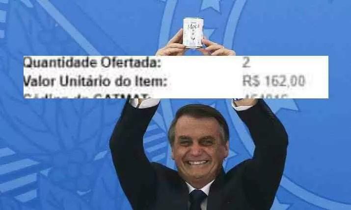 Governo Bolsonaro pagou R$162,00 por lata leite condensado.