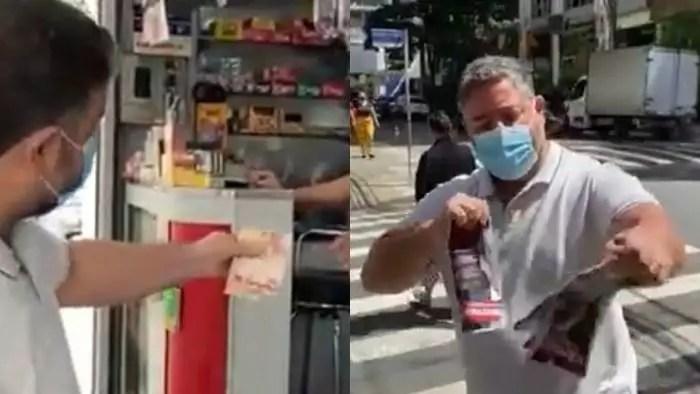 Vídeo: Deputado bolsonarista vira chacota ao gastar R$ 60,00 para comprar e rasgar todas as IstoÉ(s) de uma banca, por ódio à capa do Bolsonaro genocida.