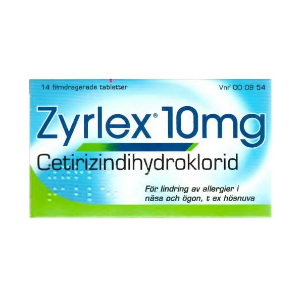 Zyrlex 10 mg 14 filmdragerade tabletter