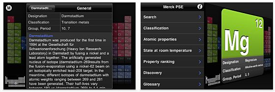 Screenshot der App Merck PSE Periodensystem für iPhone und iPod Touch