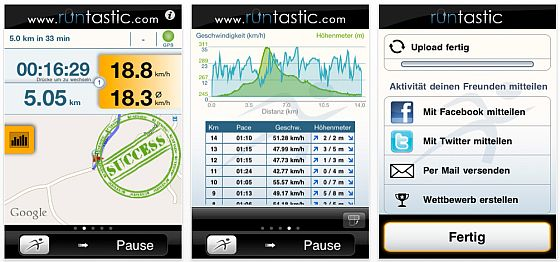 Screenshots runtastic PRO - iPhone App für Sportler