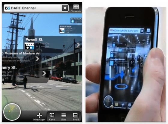 Screenshot junaio App für Augmented Reality