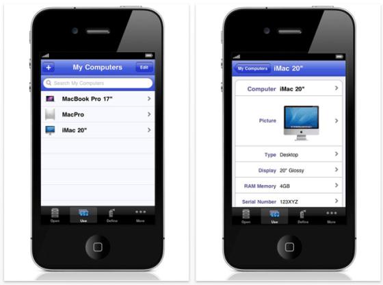 Screenshot iDatabase für iPhone und iPod Touch