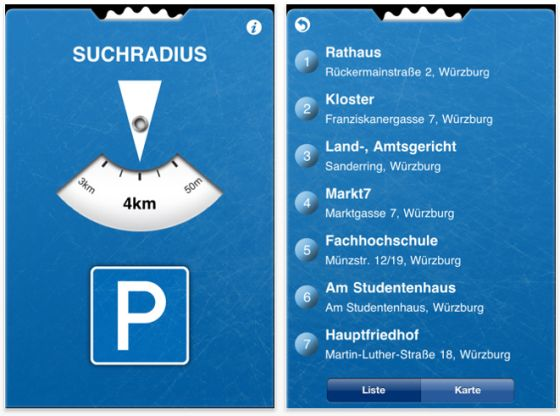 iPhone App help2park Screenshots