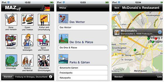 iPhone App Screenshot MAZup Deutschland lokale Suchmaschine