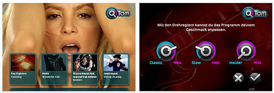 QTom TV Universal-App für Musikvideos - Screenshots