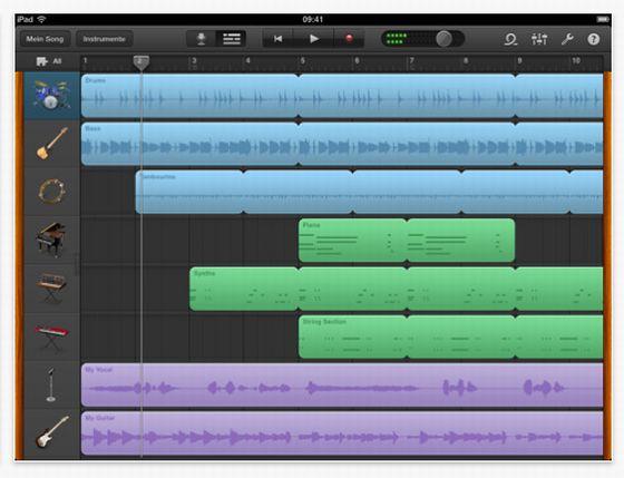 Mixer in der Musik-App für iPad Garageband von Apple