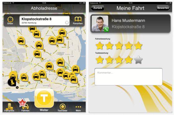 iPhone und iPad App My Taxi im Screenshot Vorstellung auf app-kostenlos.de