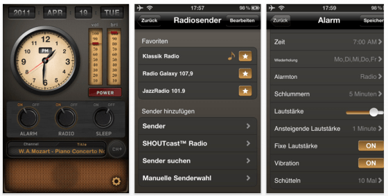 Radio-Wecker für iPhone, iPod Touch und iPad - Screenshots