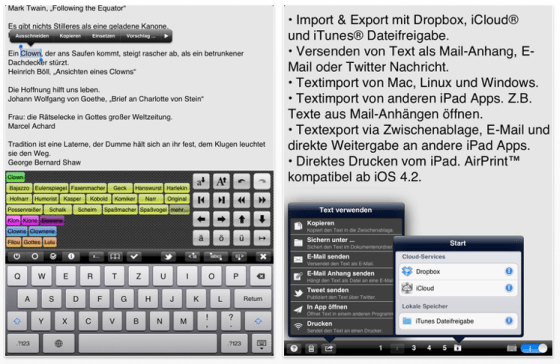 Textkraft Deutsch für das iPad Screenshots
