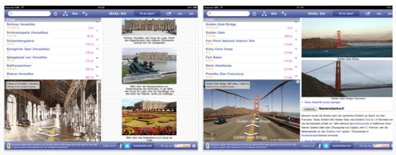 World Explorer App für iPhone und iPad Screenshots der iPad Darstellung