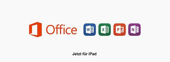 Für das iPad sind die Office Programme Microsoft Word, Microsoft Excel, Microsoft PowerPoint und Mictosoft OneNote erschienen.