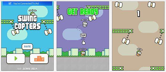 Ähnliches Spielprinzip wie bei Flappy Bird - nur dasss es jetzt senkrecht nach oben geht. Die Steuerung ist wieder grottenschlecht, der Frustfaktor hoch.