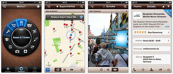 Mit Wohin? auf dem iPhone ist das Auffinden von Restaurants, Geldautomaten, Briefkästen und vielen Dienstleistungen und Sehenswürdigkeiten an Deinem aktuellen Aufenthaltsort ganz einfach und schnell möglich.