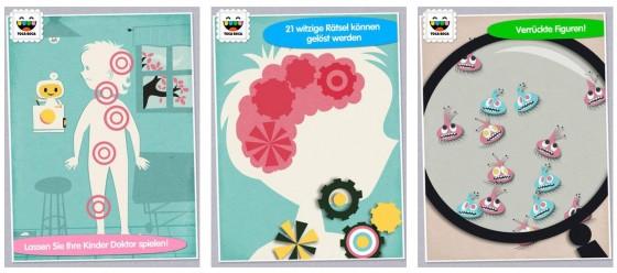 Die Geräusche erinnern etwas an Tele Tubbies - aber für kleine (!) Kinder ist die App Toca Doctor mit ihren 21 einfachen Spielchen gut geeignet.