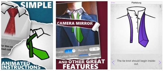 Die Spiegelansicht und die ordentlich gemachten Krawattenbinde-Schritte sind die Highlights der App How to tie a Tie.